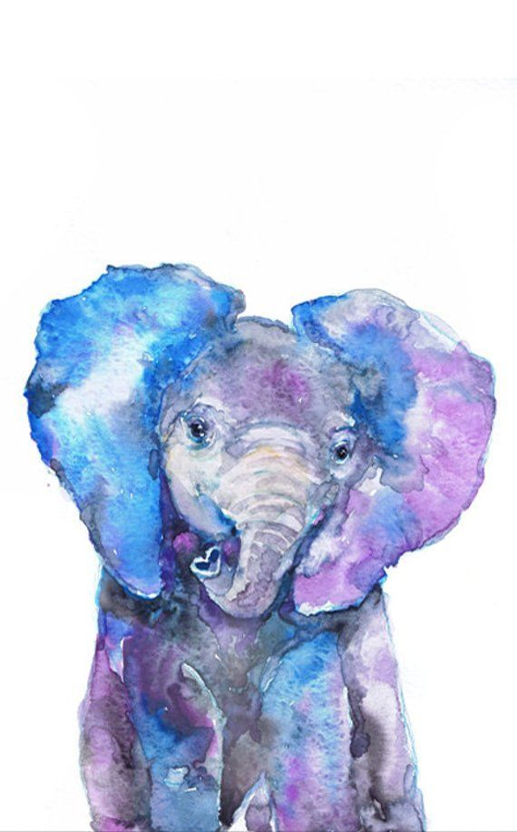 Elephant Watercolor Painting Safari Nursery Decor Baby Animal