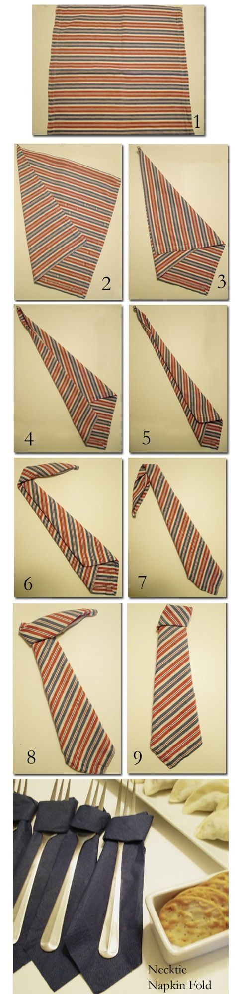 DIY Necktie Napkin Fold-try this tomorrow for Fathers Day Dinner.