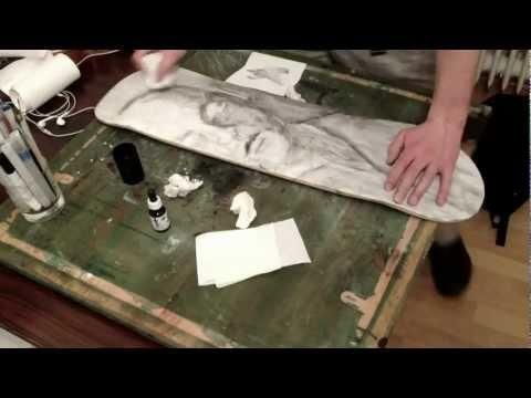 "Making of the ""Listen!"" - Skateboard (Time-lapse) #ink #artwork #makingof"