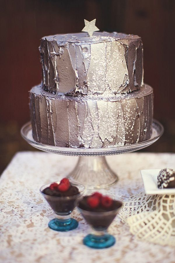 Stardust themed wedding cake with sparkly frosting