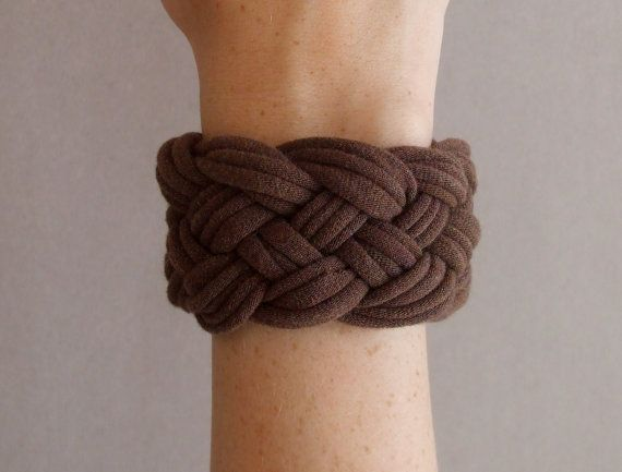 Brown Bracelet  Braided Made From TShirts  Eco by urbancreatures, $15.00