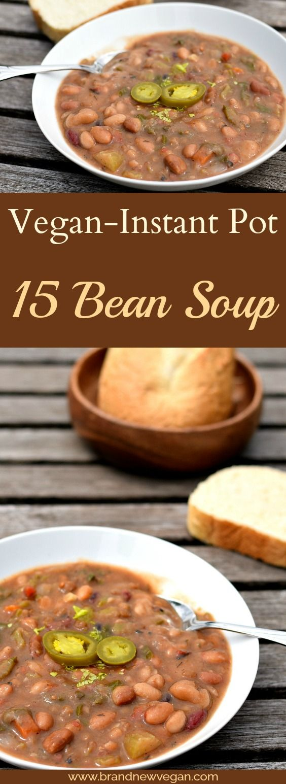 A Vegan 15 Bean Soup using one of those little bags of soup mix and my Instant Pot. From dried beans to deliciously healthy soup in just 1 hour. Pure Magic.