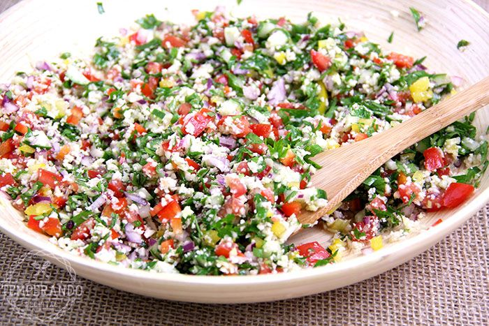 TABULE DE COUVE FLOR - Receita de Tabule de Couve Flor. Uma salada sem glúten…