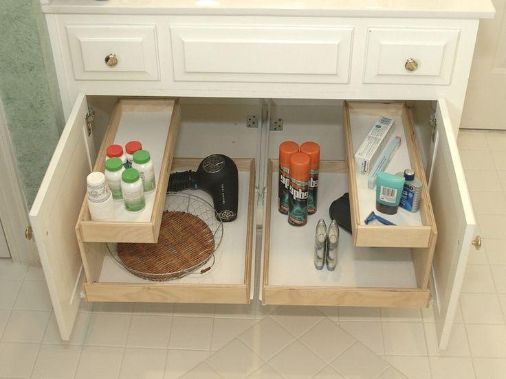 Under sink storage ideas. Look and learn plenty under kitchen / bathroom cabinet sink pull out organizer / storage for you to try + BONUS TUTORIAL.
