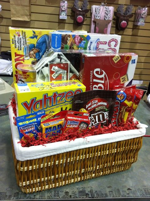 Great gift basket idea - board games, cards, and snacks! Family gift