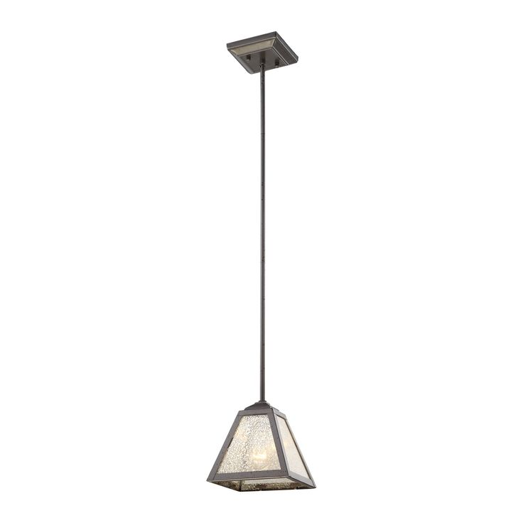 Plano 1 Light Pendant In Iron Rust With Mercury Glass - Includes Recessed Lighting Kit