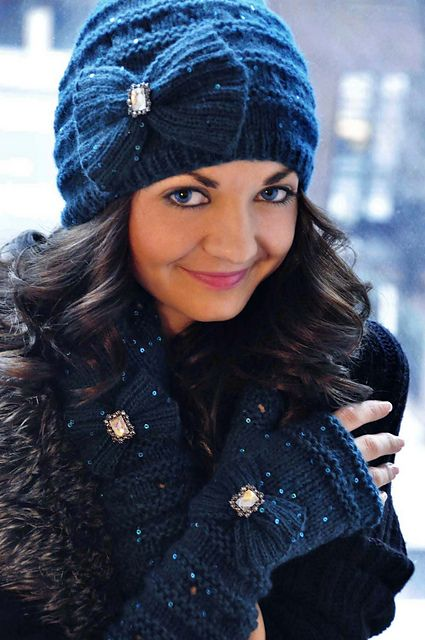 """Ravelry: """"Your Time To Shine"""" Sequin Bow and Boho Flower Hat and Fingerless Glove Set pattern by Lauren Riker"""