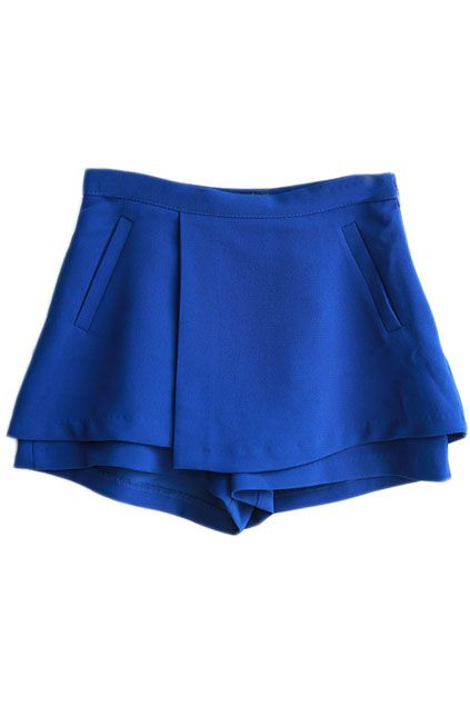 ROMWE | Zippered Faux Pockets Blue Shorts, The Latest Street Fashion
