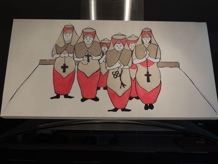 Nuns - Original acrylic painting on canvas 80cm x 40 cm €