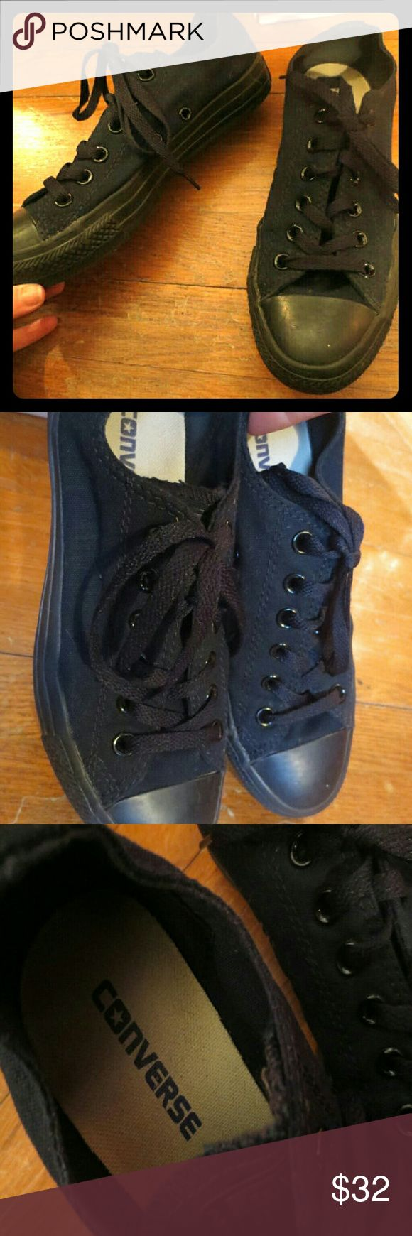 Ladies Converse All Stars Black Lowtop Sneakers 7 This is a pair of all black low top sneakers by Converse.  They appear unworn!   All black, including the soles.   They are marked a Women's U.S. size 7,or U.K. size 5. Converse Shoes Sneakers