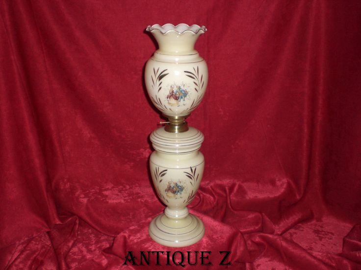Victorian Bourgeois-Viennais style oil lamp, blown opalescent glass, hand painted 24K gold, antique, by AntiqueBoutiqueZ on Etsy