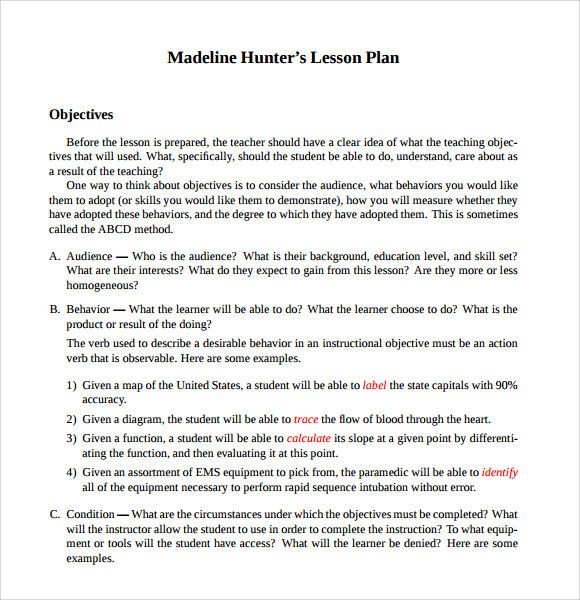 Madeline Hunter Lesson Plan Example Unique Sample Madeline Hunter Lesson Plan 11 Docum Madeline Hunter Lesson Plan Lesson Plan Examples Lesson Plan Templates