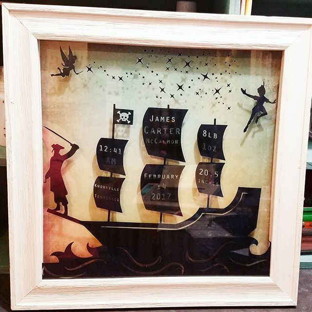 This precious birth stats shadow box is going into a Peter Pan nursery. It couldn't be more perfect. #baby #nursery #peterpan