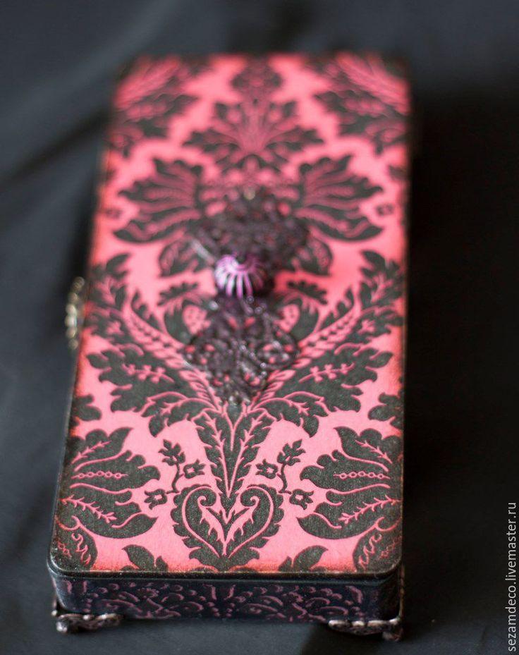 """Купить Купюрница """"Розовый Дамаск"""" - фуксия, ярко-розовый, розово-черный, купюрница, подарок для женщины"""