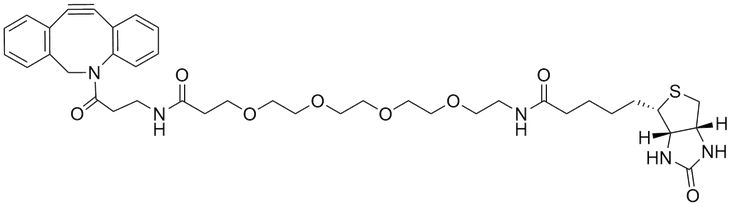 "DBCO-PEG4-Bitoin reacts with azides via a copper-free ""click chemistry"" reaction to form a stable triazole. Expand the boundary of your discovery research with our click chemistry toolbox."