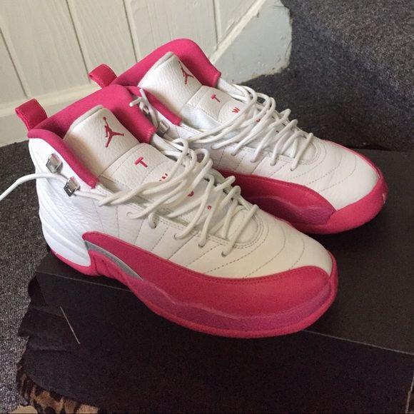 Pink and white Jordan 16s 2016 pink and white Jordan's...beautiful shoes too big for me!! Jordan Shoes Sneakers