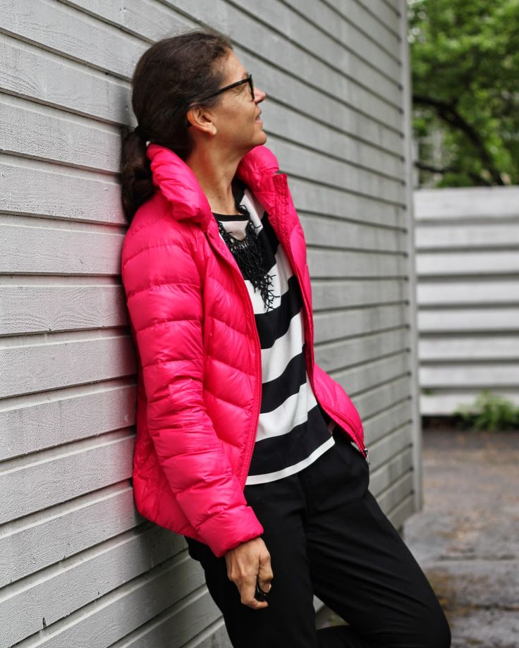 pink light down jacket stripes