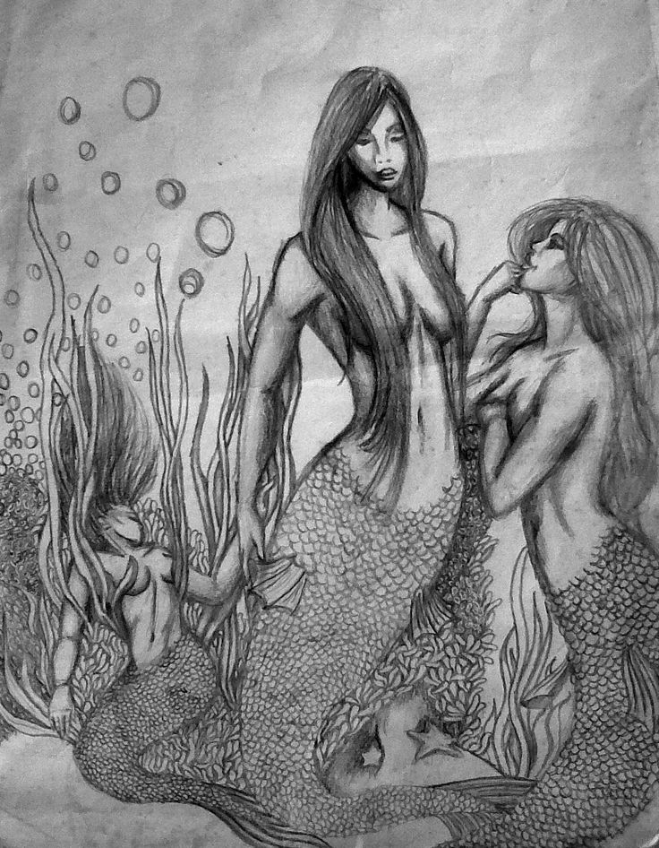 Mermaid Sketch - Pencil on paper. Fantasy art has always been a passion of mine. This artwork was completely out of my head - no copying was done of any form.