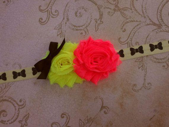 Neon Yellow  Pink Headband Shabby Flower by SecretBlossom on Etsy, $5.99