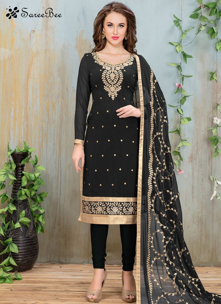 Hypnotizing Lace Work Black Faux Georgette Churidar Suit  Genuine elegance can come out from your dressing style with this black faux georgette churidar suit. The embroidered and lace work looks chic and excellent for any function. Comes with matching bottom and dupatta.