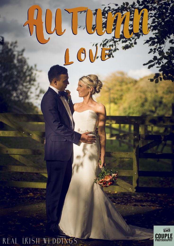Ellie & James made the most of that beautiful Autumnal sunlight in their wedding photos. They chose Durrow Castle for their reception, so they could be surrounded by the colourful autumn leaves. Take a look at their elegant real Irish wedding over at Couple.ie