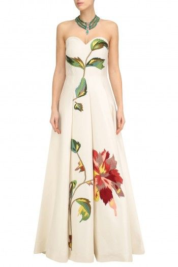 Samant Chauhan Off White Big Flower Embroidered Off Shoulder Gown #happyshopping #shopnow #ppus