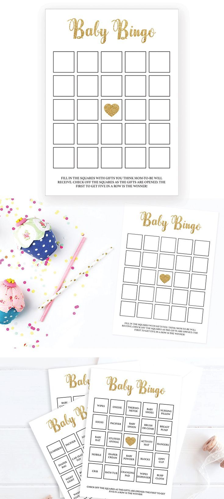 Printable Baby Shower Game Bingo Cards. Let not only the mom-to-be enjoy unpacking gifts! Play Bingo with these gold glitter gender neutral Baby Bingo cards. Check off the squares as the gifts are opened. The set has everything you need to play Baby Bingo