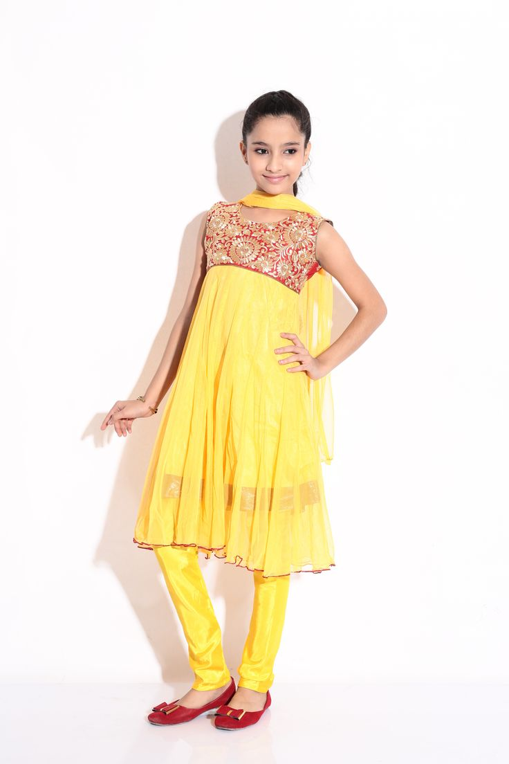 Buy Ashwini Girls Netted Embroidery Yellow Salwar for Girls from age 2-8 years at Singlekart.com/ Currently available for Customers in Bangalore. #singlekart RHClothing