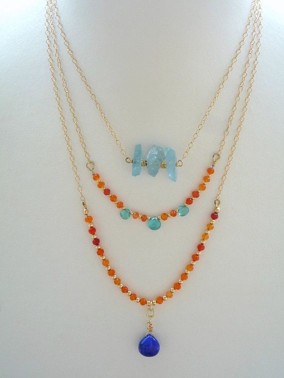 Layered Gemstone, Gold Filled chain necklaces.