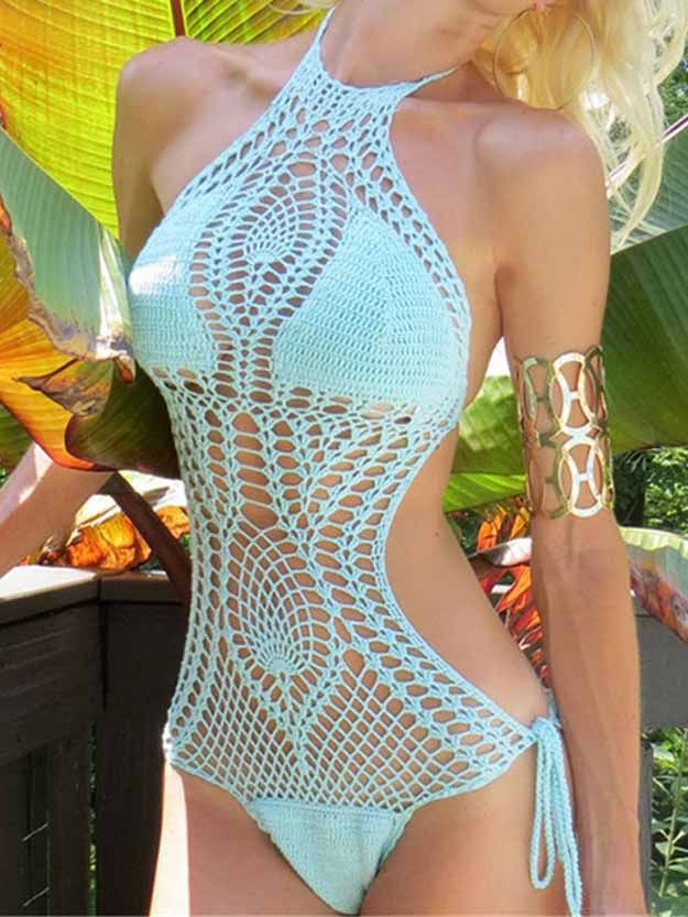 sexy crochet bathing suit | crochet patterns for beginners, see more at http://diyready.com/17-amazing-crochet-patterns-for-beginners