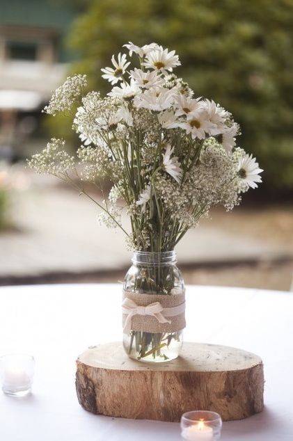 burlap wedding centerpieces | ... Covered Mason Jar ...  burlap wedding ...