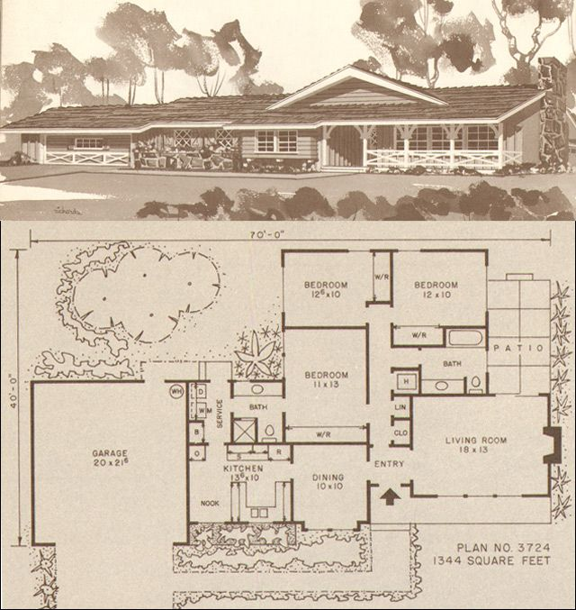 1960 ranch and modern homes by hiawatha t estes plan no this plan is a small three bedroom two bath home with a conventional floor plan - The Redwood House Plans 1960s
