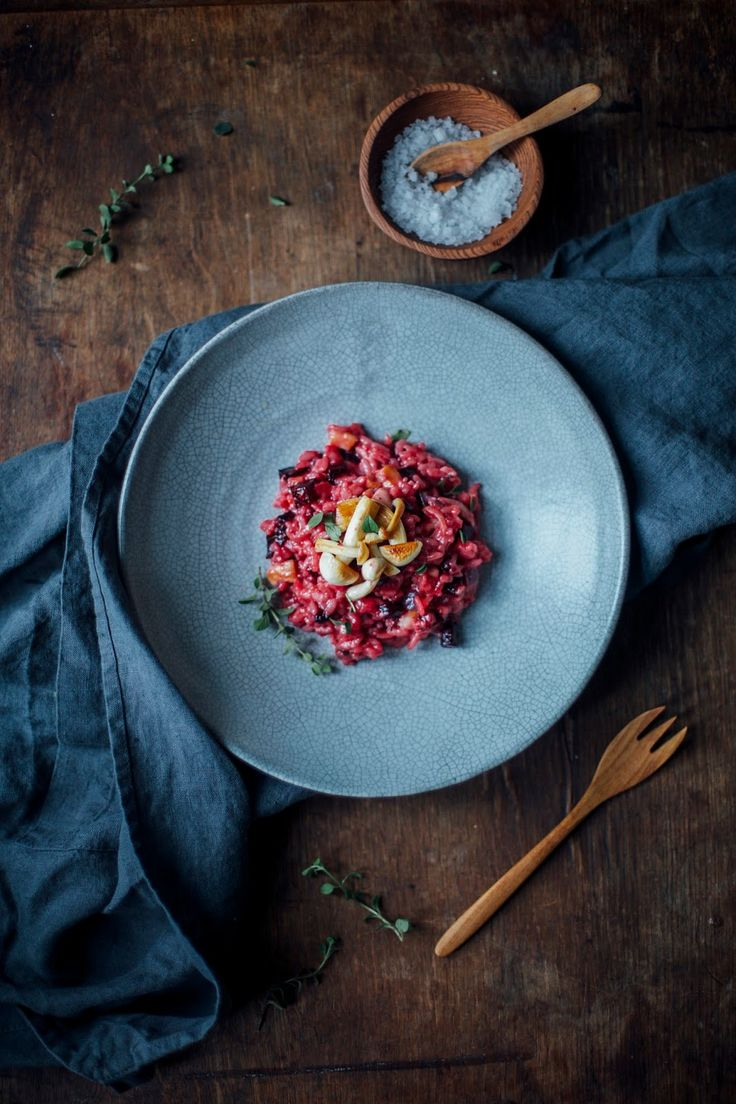 beetroot risotto with mushrooms and truffle pecorino