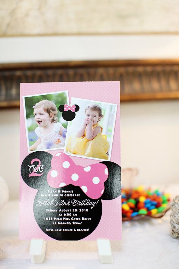 minnie mouse double photo printable birthday by hellolovedesigns, $16.00