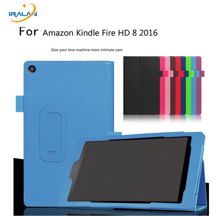 Hot Litchi Ultra Thin case For Amazon Kindle Fire HD 8 HD8 2016 8.0 inch tablet Folio PU Leather Stand Book Cover