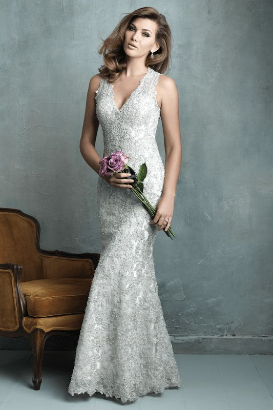 C320 Allure Couture Bridal Gown - Every inch of this slim-fitting sheath is covered in lace appliqué and shimmering beadwork. The result is irresistible.