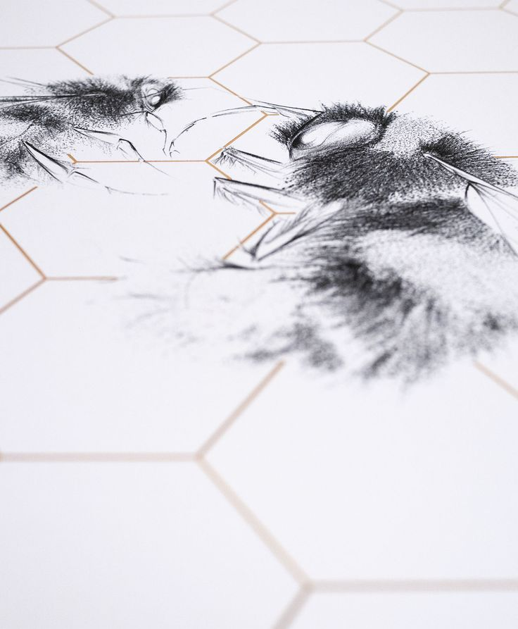 Detail shot of the intricate work of Jessica Albarn's 'Queen Bee and Worker', as seen in Anna's kitchen #nellyathome #interiors #home #art  This artwork can be found here: http://www.nellyduff.com/gallery/jessica-albarn/queen-bee-worker-wild-honey-ap