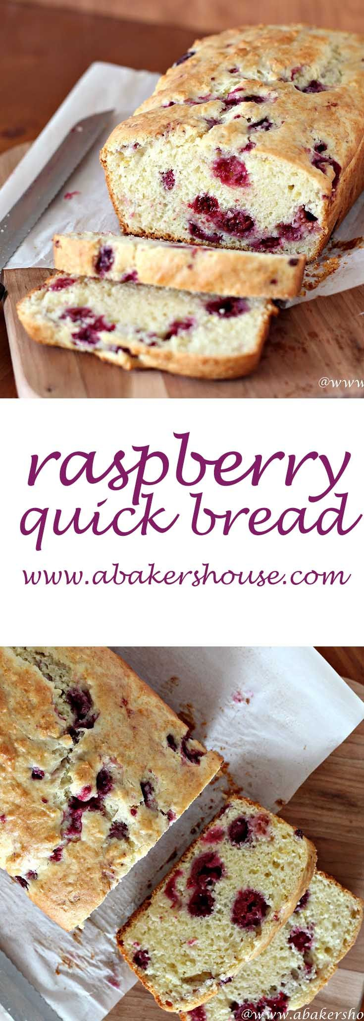 This raspberry quick bread that comes together in about an hour and can be ready for your afternoon cup of tea. I used raspberries (frozen, in fact), but blueberries, cranberries or cherries would all work. Fresh or frozen, berries in this bread add a sweetness and color that make this a recipe to keep handy. Made by Holly Baker at www.abakershouse.com