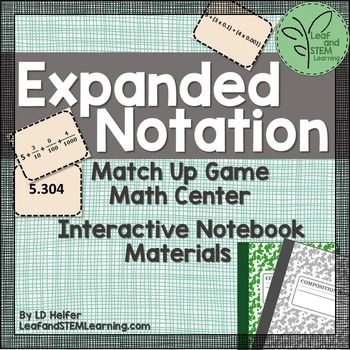 Use the 32 game cards to create a math center for students to practice identifying decimal numbers written in expanded form and expanded notation using fractions and decimals.  The cards also help reinforce and review decimals in word form and place value!