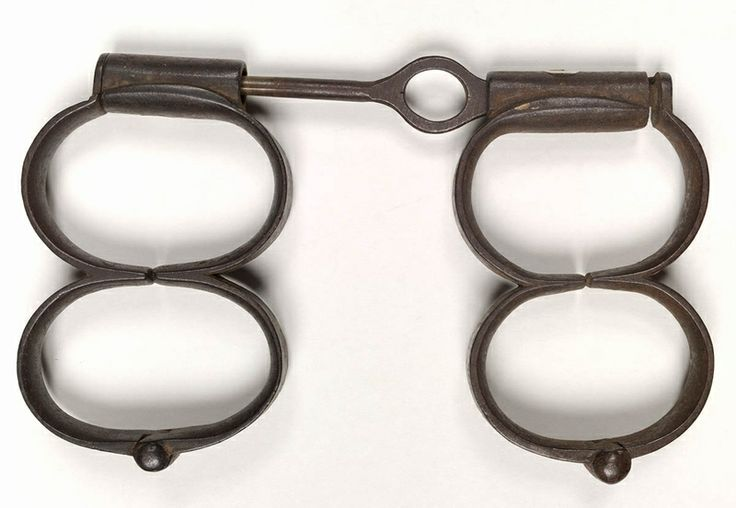 Two pairs of convict manacles, said to have come from Port Arthur, Tasmania. From the collections of the Dixson Library, State Library of New South Wales: http://acmssearch.sl.nsw.gov.au/search/itemDetailPaged.cgi?itemID=449230