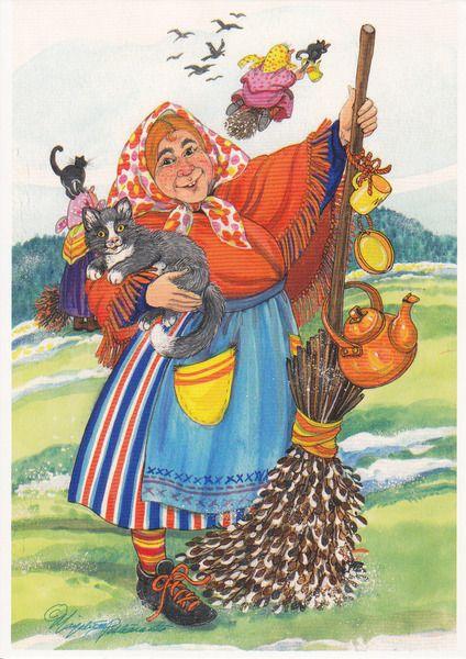 easter witch tea pot broom black cat fairy sweden