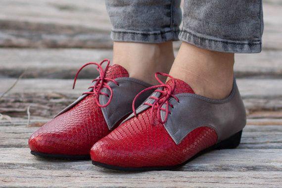 Rode lederen schoenen rode Oxford schoenen nauwe door BangiShop