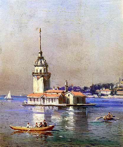 Tablolardaki İstanbul - Kız Kulesi, İstanbul - Türkiye,  Yapıt Sahibi: Hoca Ali Rıza