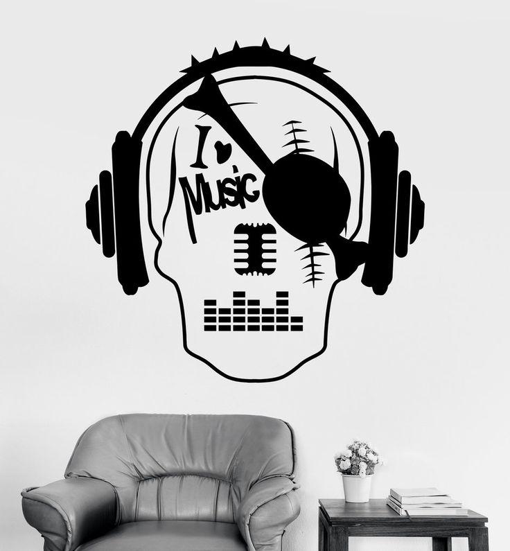 Vinyl Wall Decal Music Skull Headphones Night Club Teen Room Stickers (ig3229)