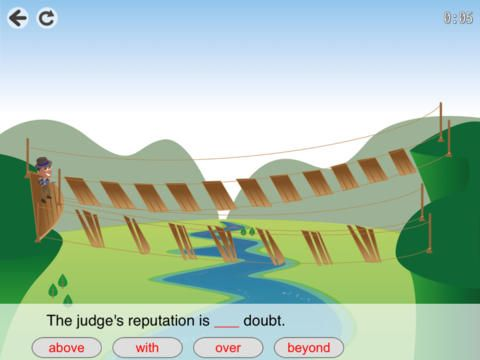 GetAcross Free ($0.00) players need to get from one side of a track to the other as fast as possible by choosing the correct prepositions to complete sentences. Four levels of difficulty - 80 different prepositions and phrasal verbs