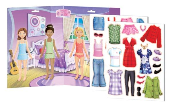 """Four best friends need help deciding what to wear after their sleep over! The Dress Me Up Magnetic Play Set features a large 18""""x12.75"""" bedroom play board and 35 assorted fashion accessory magnetic pieces! The sturdy magnet pieces are designed to be easy for small hands to hold, and kids can move pieces around the colorful play board to create stories and games. #dressmeup #magnets #clothes #imaginetics"""