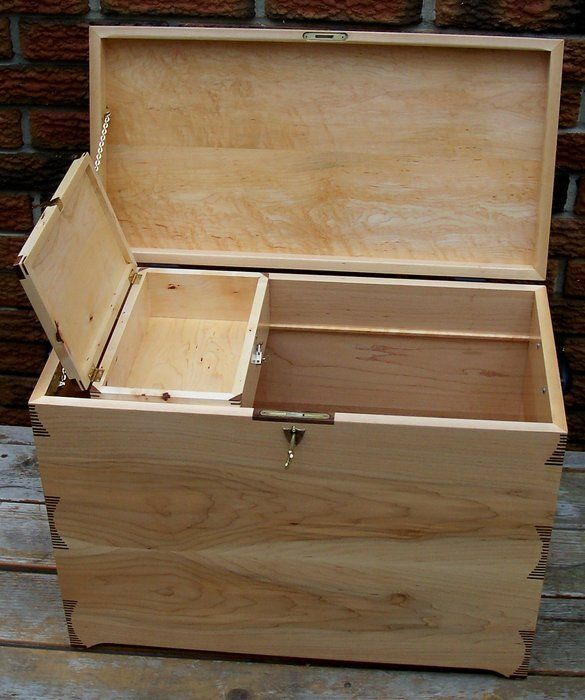 Maple Hope Chest - by Ken Dixon @ LumberJocks.com ~ woodworking ...  Or old tool chest with the till, make from pallet wood of scavenge hard wood boards, or just buy new :)