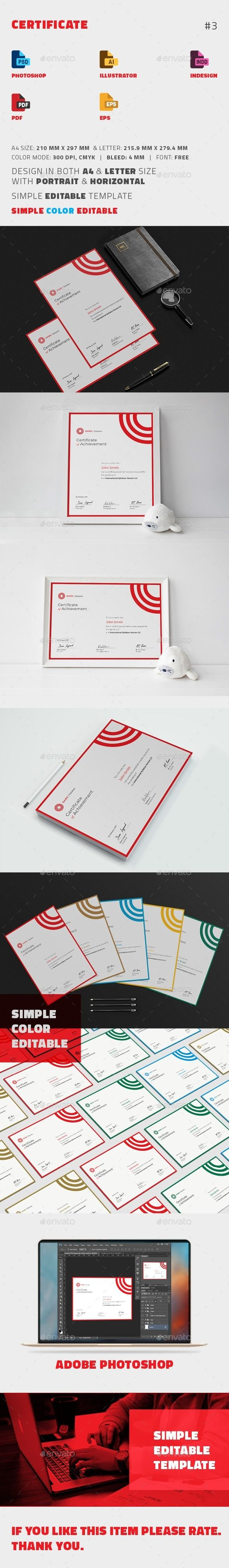 #Certificate - Certificates #Stationery Download here: https://graphicriver.net/item/certificate/19505537?ref=alena994