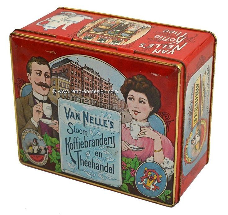 Van Nelle's stoom Koffiebranderij en Theehandel. Vintage blik