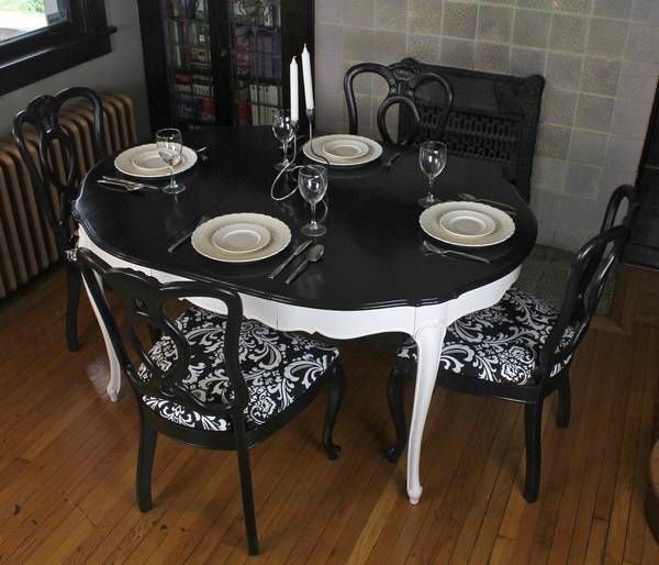 Magnificent Upcycled Black White Dining Set Urbane Reclamation Caraccident5 Cool Chair Designs And Ideas Caraccident5Info